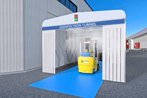 Sanitising tunnel for pedestrians, incoming goods and equipment after use.