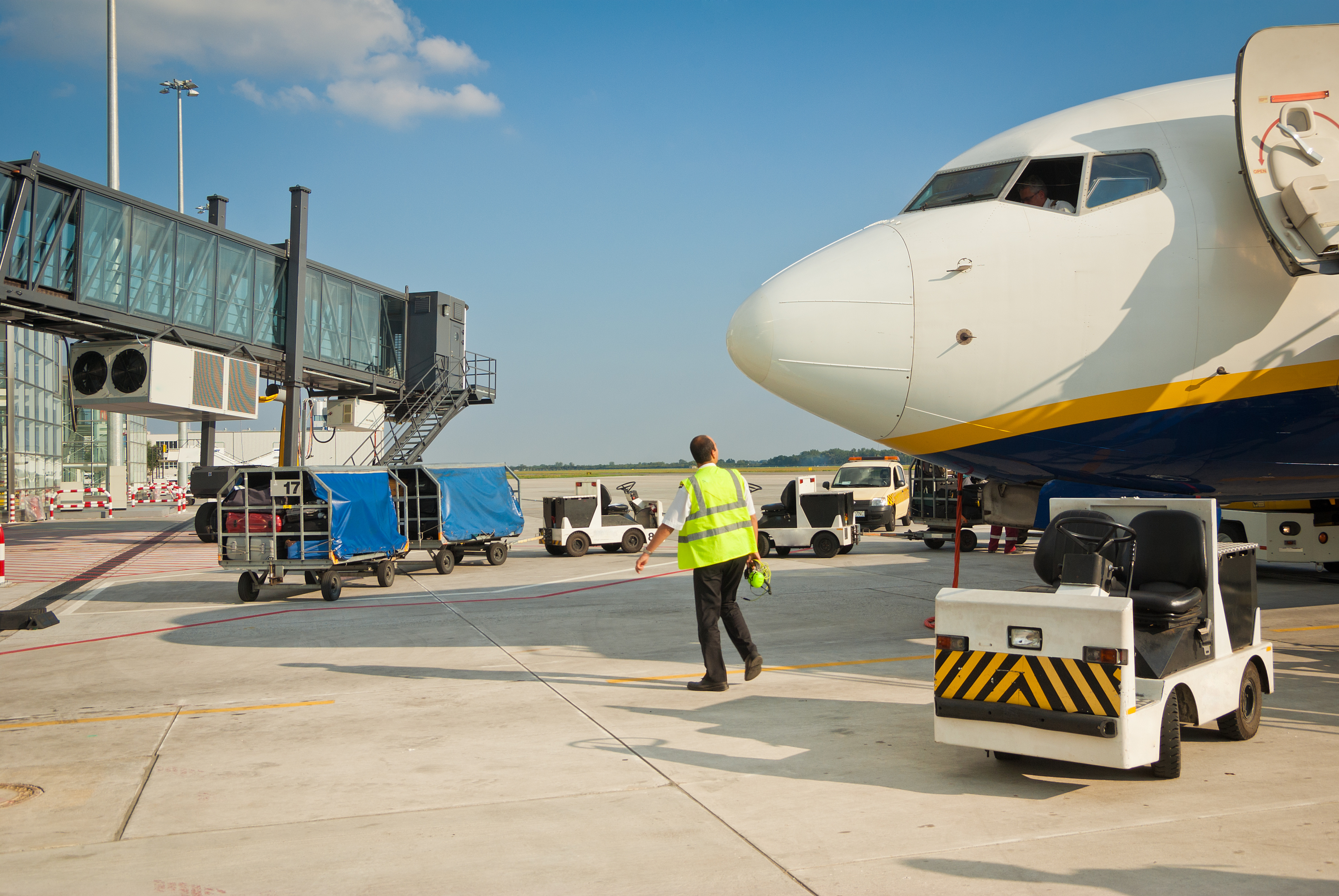 Air freight in transit between building and aircraft